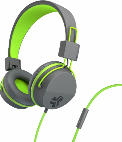 JLab Audio Neon Wired Headphones - Green/Gray Perspective: front