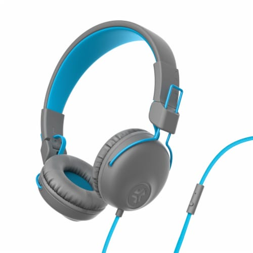 JLab Audio Neon Wired On-Ear Headphones - Blue/Gray Perspective: front