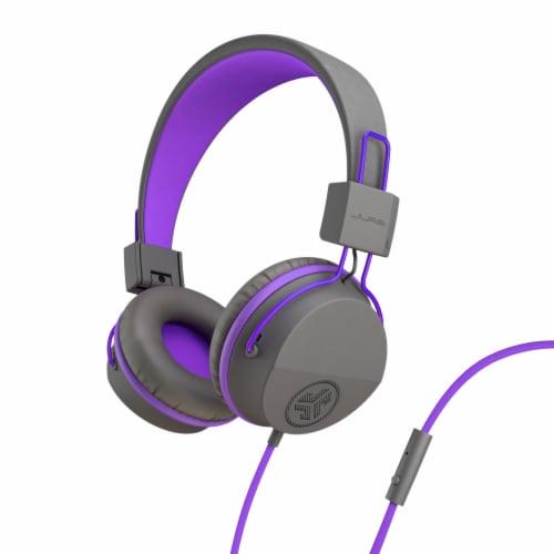 JLab Audio JBuddies Studio Kids Folding Headphones - Gray/Purple Perspective: front