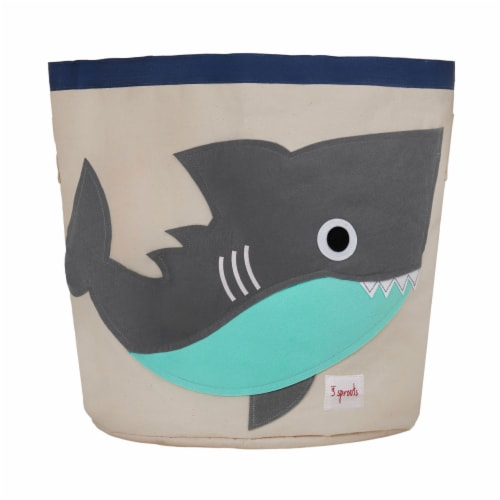 3 Sprouts Canvas Storage Bin - Laundry and Toy Basket for Baby and Kids - Shark Perspective: front