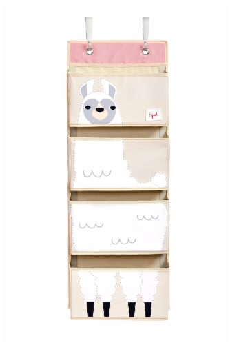 3 Sprouts Hanging Wall Organizer- Storage for Nursery and Changing Tables, Llama Perspective: front