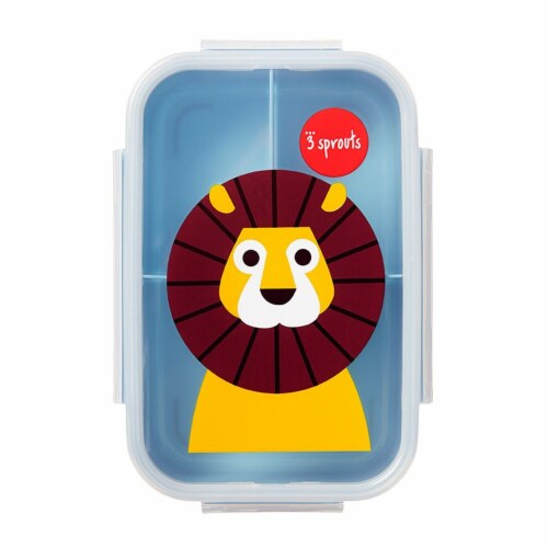 3 Sprouts Microwavable Leakproof 3 Compartment Bento Box Lunch Container, Lion Perspective: front