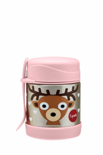 3 Sprouts Stainless Steel Food Jar and Spork for Kids - Deer Perspective: front