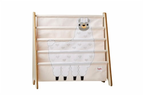 3 Sprouts Book Rack – Kids Storage Shelf Organizer Baby Room Bookcase Furniture, Llama Perspective: front