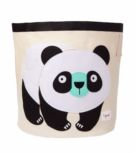 3 Sprouts Canvas Storage Bin - Laundry and Toy Basket for Baby and Kids, Panda Perspective: front