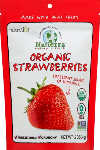 Nature's All Foods Organic Freeze-Dried Strawberries Perspective: front