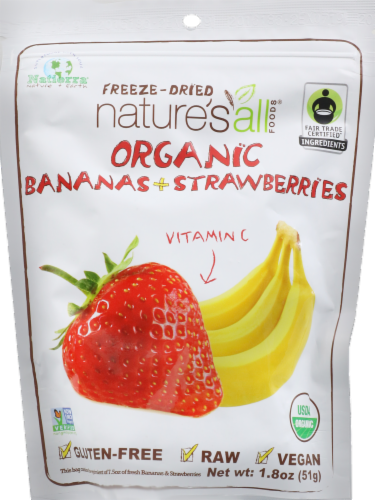 Nature's All Dried Fruit Bananas & Strawberrys Perspective: front