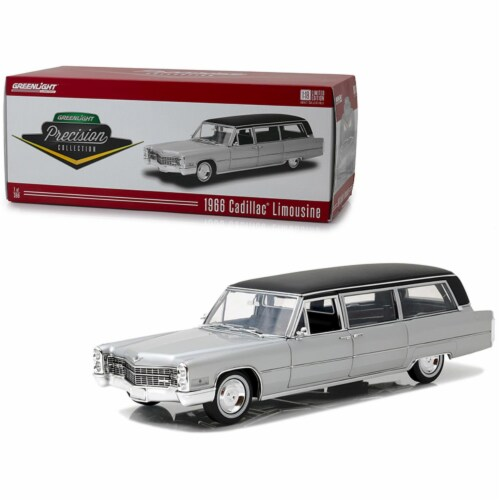 Greenlight 18005 1966 Cadillac S&S Limousine Silver with Black Top Precision Collection Limit Perspective: front