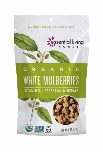 Essential Living Foods  Organic White Mulberries Perspective: front