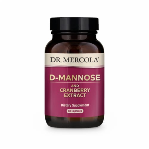 Mercola D-Mannose and Cranberry Extract Supplement Capsules Perspective: front