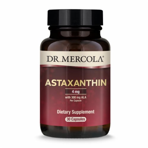 Mercola Organic Astaxanthin with ALA Supplement Capsules Perspective: front