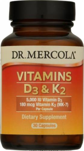Mercola Vitamins D3 & K2 Capsules Perspective: front
