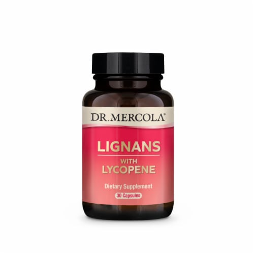 Mercola Lignans with Lycopene Capsules Perspective: front