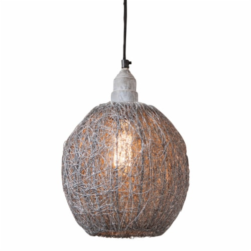 Nesting Wire Hanging Light Pendant in Weathered Zinc Perspective: front