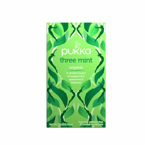 Pukka Organic Three Mint Herbal Tea Sachets Perspective: front