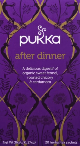 Pukka After Dinner Herbal Tea Sachets Perspective: front