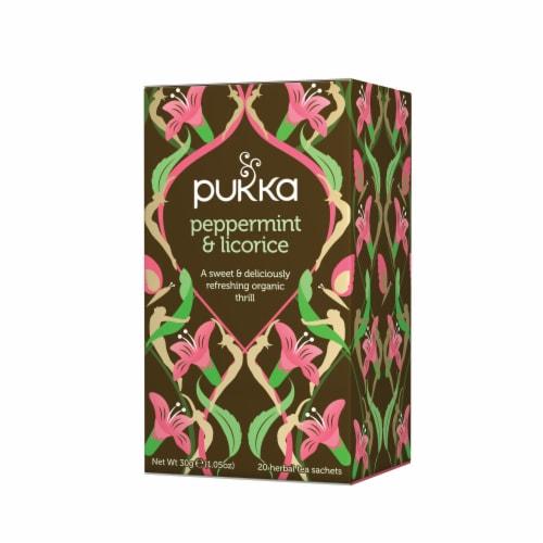 Pukka Peppermint & Licorice Herbal Tea Sachets Perspective: front