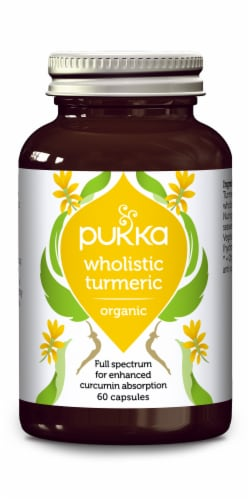 Pukka Whoilistic Turmeric Organic Herbal Supplement Capsules Perspective: front