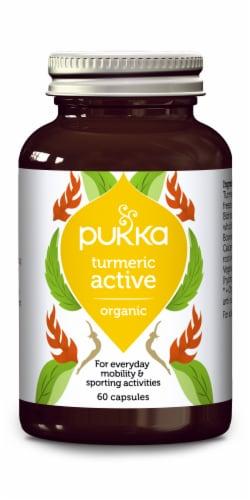 Pukka Turmeric Active Organic Herbal Supplement Capsules Perspective: front