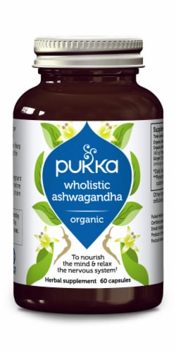 Pukka Wholistic Ashwagandha Organic Herbal Supplement Capsules Perspective: front