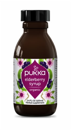 Pukka Organic Elderberry Syrup Herbal Supplement Perspective: front