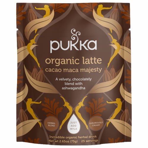 Pukka Organic Cacao Maca Majesty Latte Herbal Drink Perspective: front