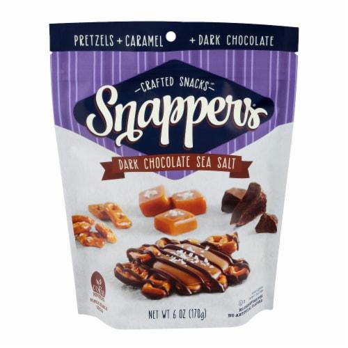 Snappers Dark Chocolate Sea Salt Caramel Pretzels Perspective: front