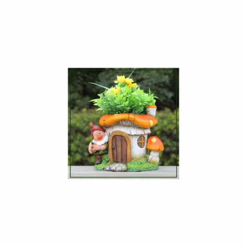 SINTECHNO Cute Gnome with Mushroom House Flower Pot Planter Perspective: front