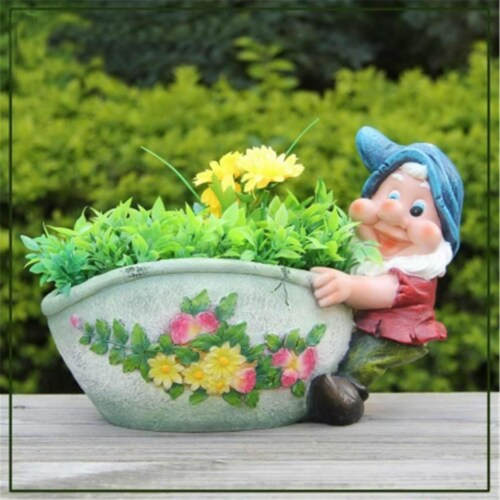 SINTECHNO Cute Gnome Dragging the Flower Pot Planter Perspective: front