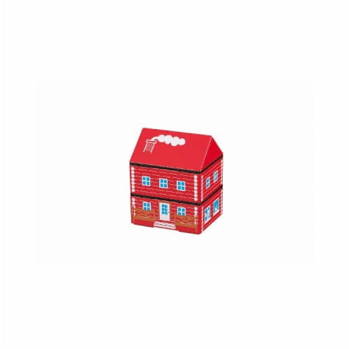 Microwaveable Red Log Farm House 2-Tier Lunch Box Perspective: front