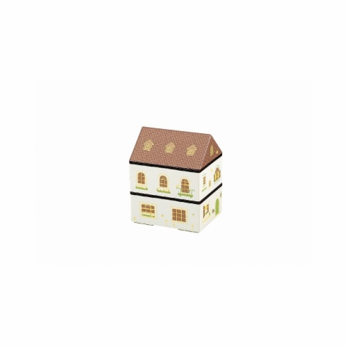 Microwaveable White European House 2-Tier Lunch Box Perspective: front