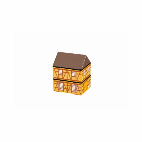 Microwaveable Brown Brick Farm House 2-Tier Lunch Box Perspective: front