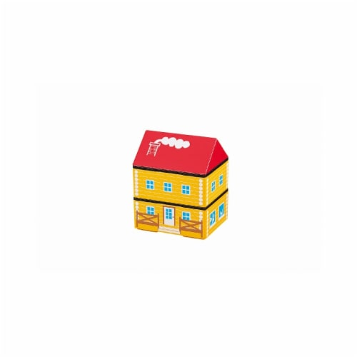 Microwaveable Yellow Log Farm House 2-Tier Lunch Box Perspective: front