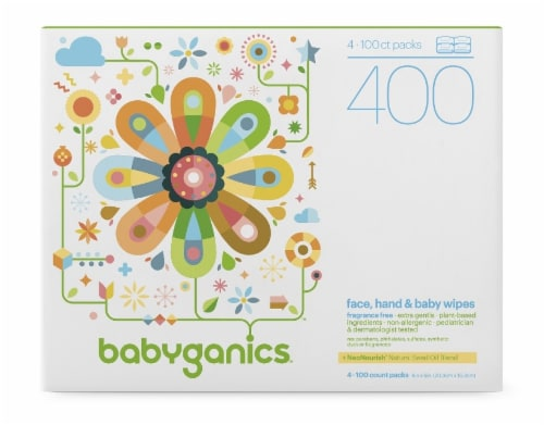 Babyganics Face Hand And Baby Wipes Fragrance Free Perspective: front