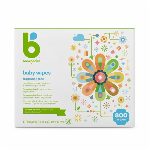 Babyganics Face Hand & Baby Wipes 800 Count Perspective: front