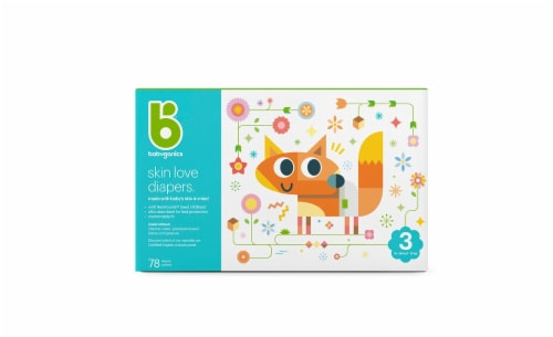 Babyganics Skin Love Size 3 Diapers 78 Count Perspective: front