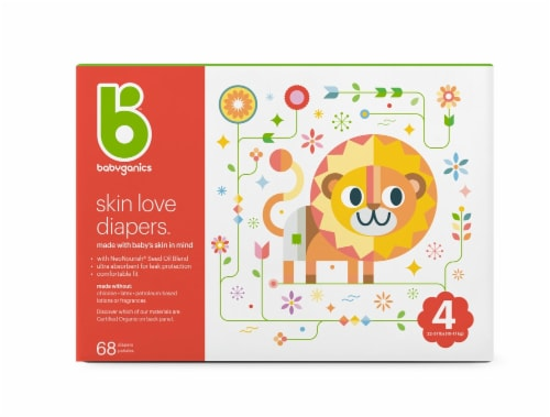 Babyganics Skin Love Size 4 Diapers 68 Count Perspective: front