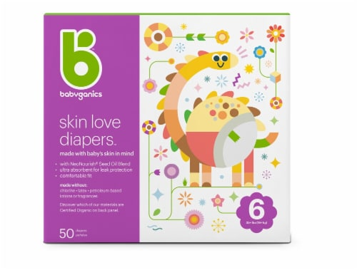 Babyganics Skin Love Size 6 Diapers 50 Count Perspective: front
