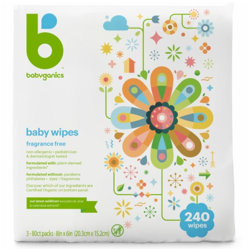 Babyganics Baby Wipes 240 Count Perspective: front