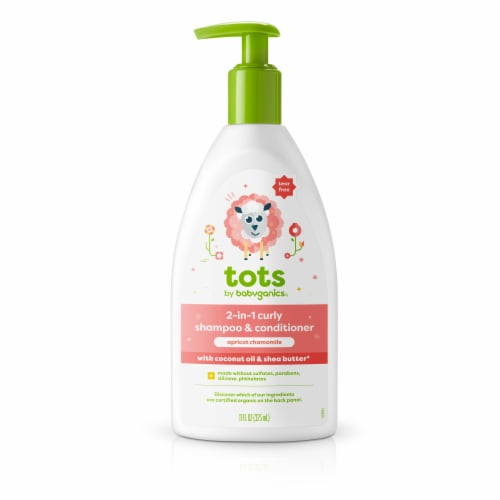 Tots by Babyganics Apricot Chamomile 2-in-1 Curly Shampoo & Conditioner Perspective: front