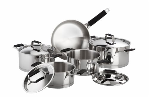 Premier Stainless Steel 9pc Cookware Set w/Black Handles Perspective: front