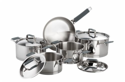 Premier Stainless Steel 9 Piece Cookware Set with Grey Handles Perspective: front