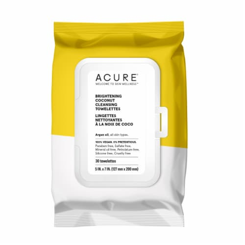 Acure Brightening Coconut Cleansing Towelettes Perspective: front