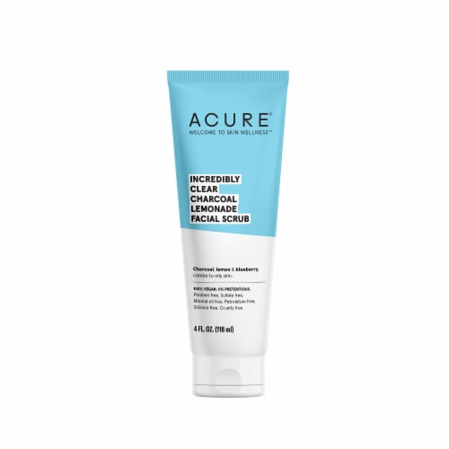 Acure Incredibly Clear Charcoal Lemonade Facial Scrub Perspective: front