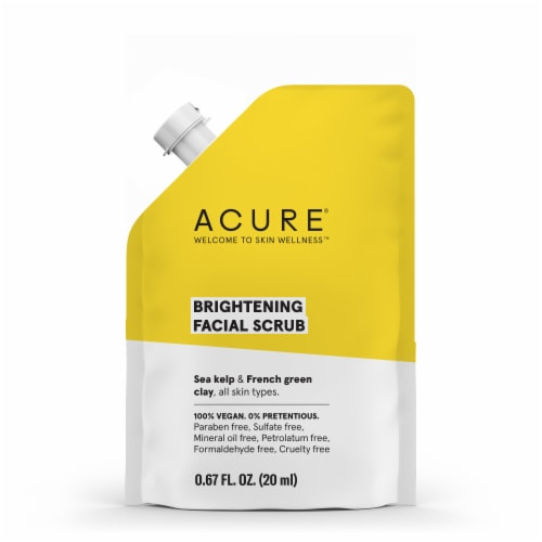 Acure Sea Kelp & French Green Clay Brightening Facial Scrub Perspective: front