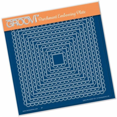 Groovi Plate - Scallops Nested Squares A5 Square Perspective: front