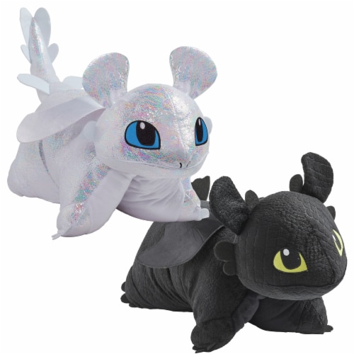 Pillow Pets How to Train Your Dragon Toothless & Light Fury Combo Pack Plush Toys Perspective: front