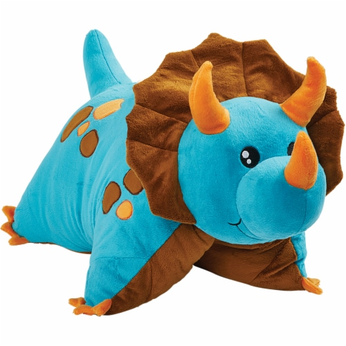 Pillow Pets Jumboz Dinosaur Oversized Plush Toy - Blue Perspective: front
