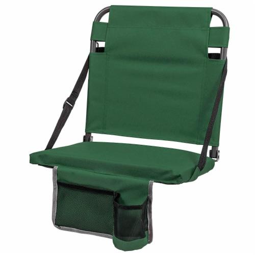 Eastpoint Sports Adjustable Bleacher Backrest Stadium Seat w/ Cup Holder, Green Perspective: front