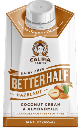 Califia Farms  Dairy Free Better Half Hazelnut Flavored Coconut Cream & Almond Milk Perspective: front